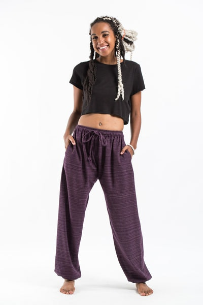 Drawstring Pinstripe Women's  Pants in Purple