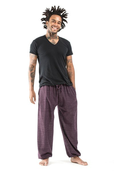 Drawstring Pinstripe Men's  Pants in Purple