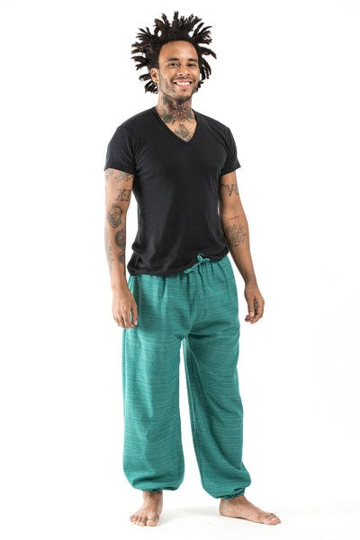 Drawstring Pinstripe Men's  Pants in Turquoise