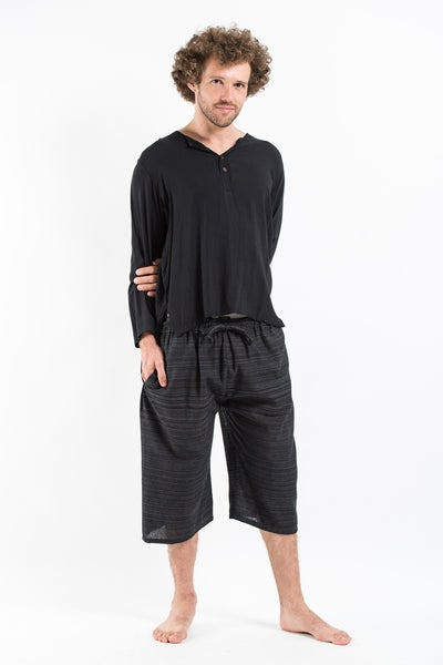 Drawstring Pinstripe  Capri Shorts in Black