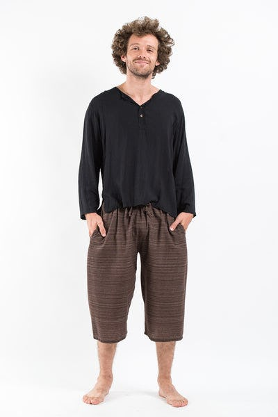 Drawstring Pinstripe  Capri Shorts in Brown