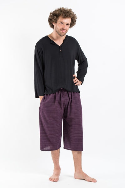 Drawstring Pinstripe  Capri Shorts in Purple