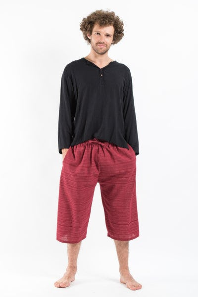 Drawstring Pinstripe  Capri Shorts in Red