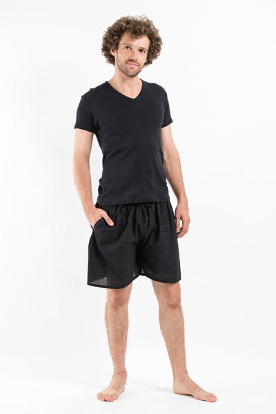 Drawstring Pinstripe  Shorts  in Black