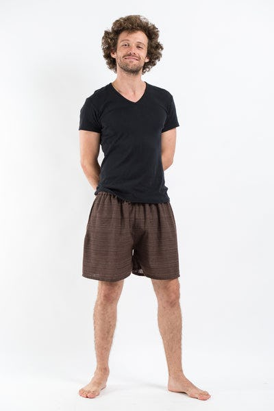 Drawstring Pinstripe  Shorts  in Brown