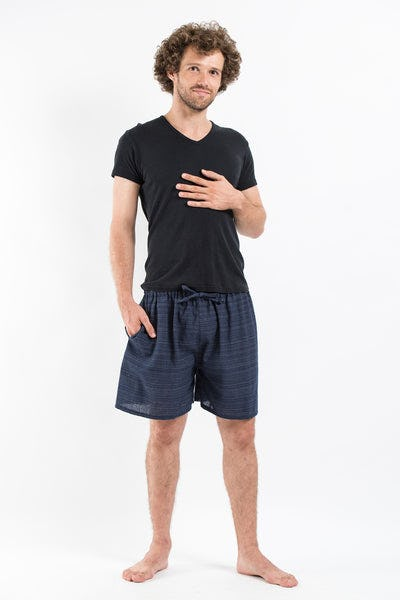 Drawstring Pinstripe  Shorts  in Navy