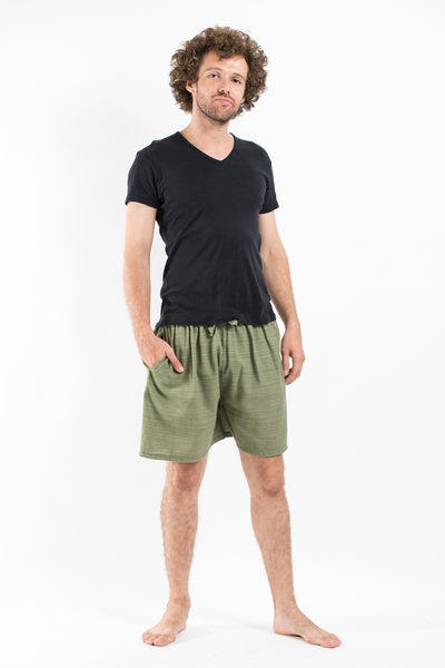Drawstring Pinstripe  Shorts  in Olive