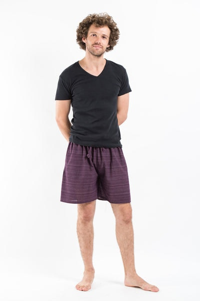 Drawstring Pinstripe  Shorts  in Purple