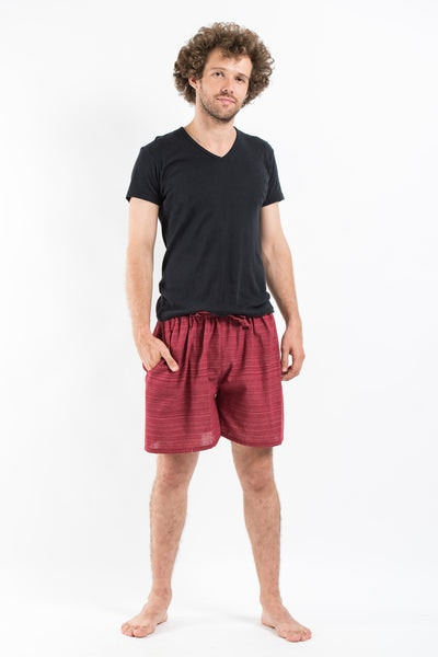 Drawstring Pinstripe  Shorts  in Red