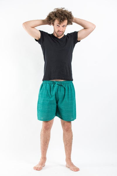Drawstring Pinstripe  Shorts  in Turquoise