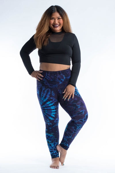 Plus Size Swirls Tie Dye Cotton Leggings in Indigo