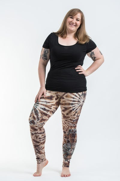 Plus Size Swirls Tie Dye Cotton Leggings in Light Brown