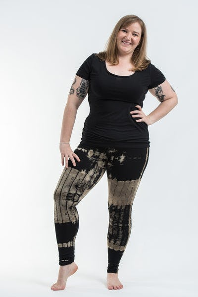 Plus Size Patch Dye Tie Dye Cotton Leggings in Black White