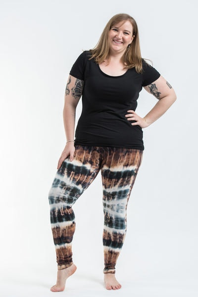 Plus Size Patch Dye Tie Dye Cotton Leggings in Brown