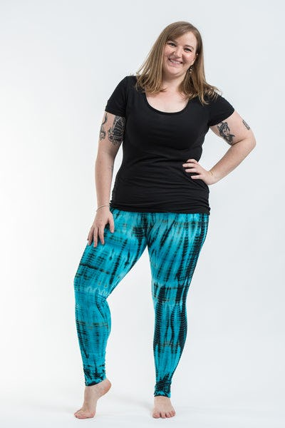 Plus Size Lightning Stripes Tie Dye Cotton Leggings in Turquoise