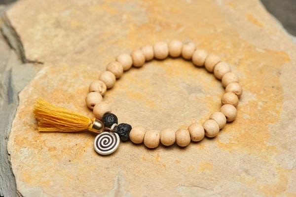 Spiral Tribal Silver Charm With Nepalese Budhi Wooden Beads Bracelet