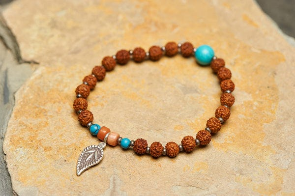 Rudraksha mixed Coral and Turquoise Bracelet With Sacred Leaf Silver Charm