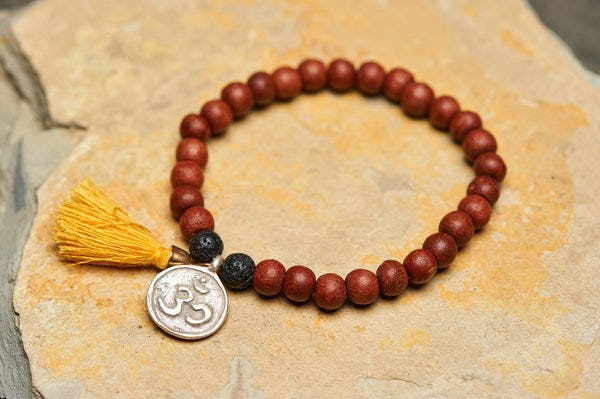 Ohm Silver Charm With Nepalese Budhi Wooden Beads Bracelet