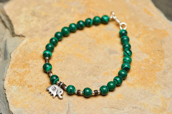 Hand Made Tibetan Elephant Mala With Malachite Beads Bracelet