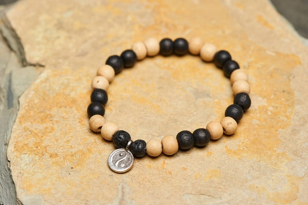 Ying Yang Silver Charm With Budhi Wooden Beads Bracelet From Nepal