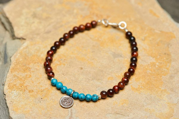 Hand Made Tribal Turquoise And Red Tiger Eye Bracelet With Ohm Silver Charm