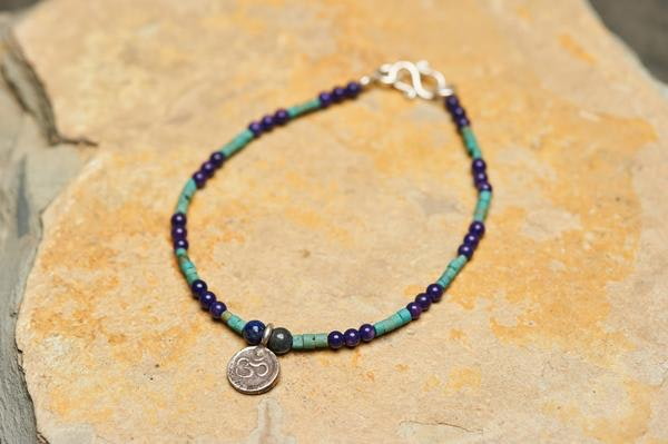 Hand Made Tibetan Ohm Mala With Lapis And Turquoise Beads Bracelet