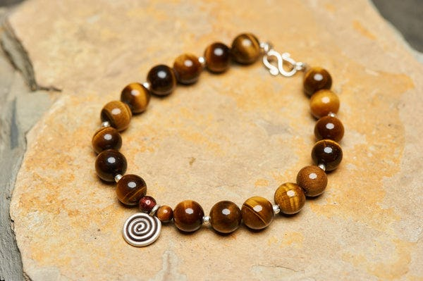 Hand Made Tibetan Spiral Mala Bracelet With Tiger Eye Beads