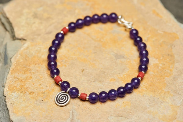 Hand Made Tibetan Spiral Mala With Coral And Amethyst Beads Bracelet
