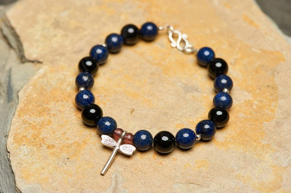 Hand Made Tibetan Dragon Fly Mala With Lapis lazuli Beads Bracelet