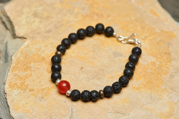 Hand Made Tibetan Mala With Carnelian and Black Lava Beads Bracelets