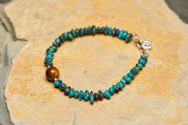 "Handmade Tibetan Turquoise & Tiger Eye Stone Bracelet With Silver Charm ""Heart"""
