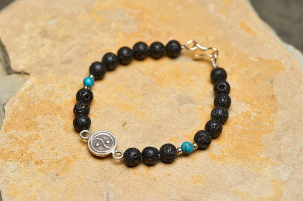 Hand Made Tibetan Yin Yang Mala Bracelet With Black Lava and Turquoise Beads