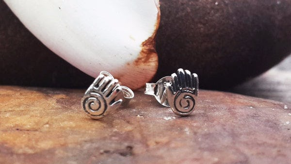 Sterling Silver Thai Stud Earrings Spirit Hand
