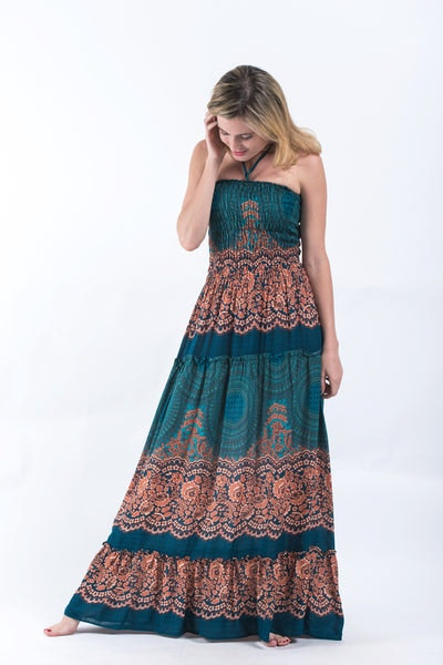 Geometric Mandalas Smocked Bandeau Maxi Dress in Turquoise