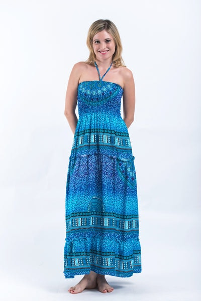 Tribal Chakras Smocked Bandeau Maxi Dress in Blue