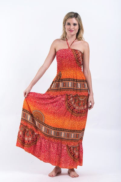 Tribal Chakras Smocked Bandeau Maxi Dress in Orange