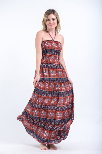 Aztec Elephants Smocked Bandeau Maxi Dress in Rust