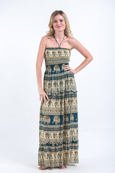 Festive Elephants Smocked Bandeau Maxi Dress in Teal