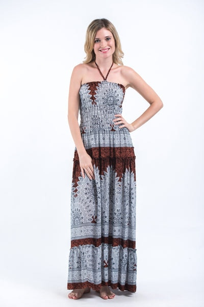 Marble Mandalas Smocked Bandeau Maxi Dress in Brown