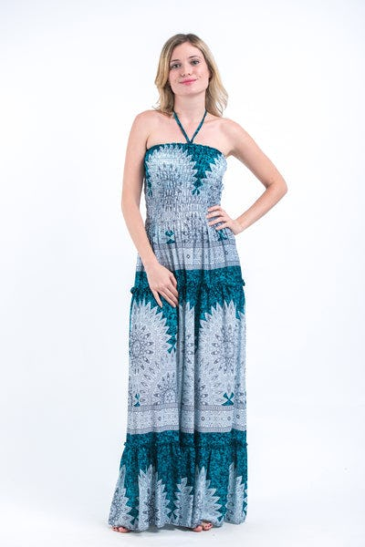 Marble Mandalas Smocked Bandeau Maxi Dress in Turquoise