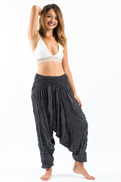 Crinkled Cotton Harem Pants in Black