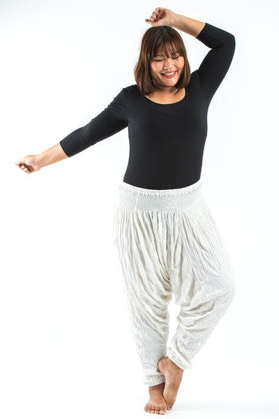 Plus Size Crinkled Cotton Harem Pants in White