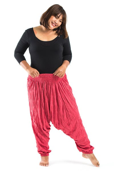 Plus Size Crinkled Cotton Harem Pants in Red