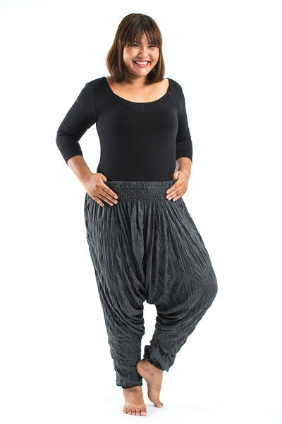 Plus Size Crinkled Cotton Harem Pants in Black