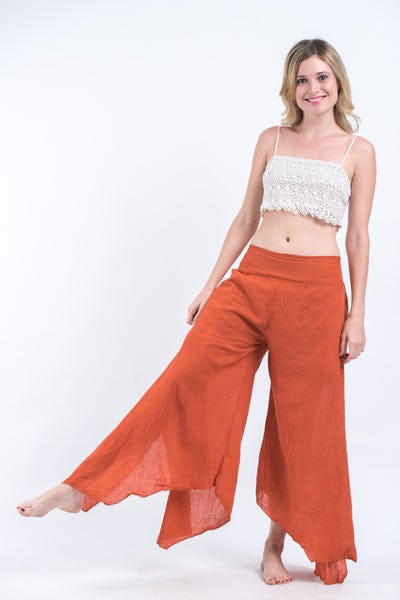 Women's Cotton Tinkerbell Palazzo Pants in Brick Orange