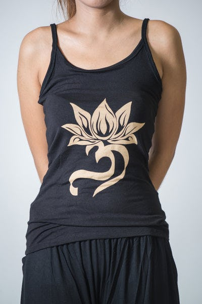 Cotton Spandex Super Soft Women's Tank Top Lotus OM Black