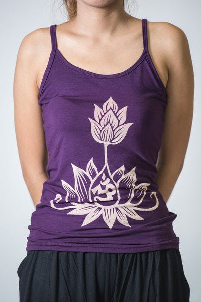 Cotton Spandex Super Soft Women's Tank Top Om Bloom Purple