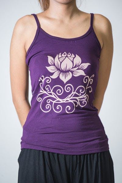 Cotton Spandex Super Soft Women's Tank Top Lotus Purple