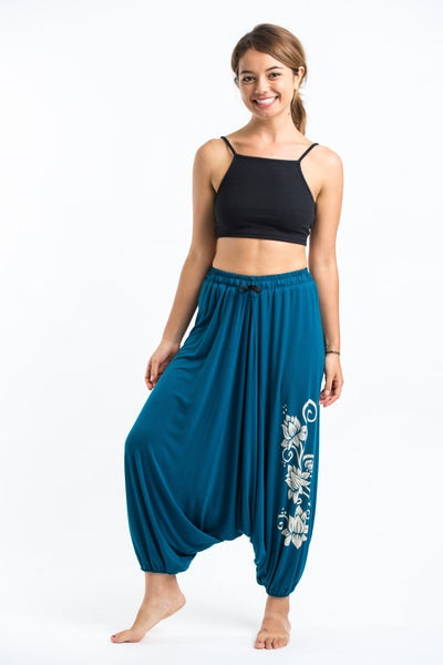 Drawstring Low Cut Harem Pants Cotton Spandex Printed 3 lotus Turquoise