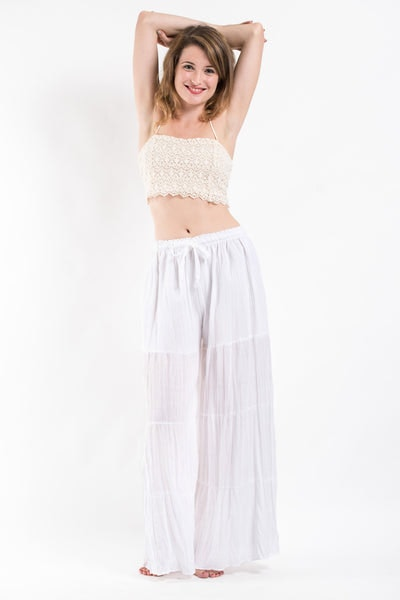 Pleated Cotton Palazzo Pants in White